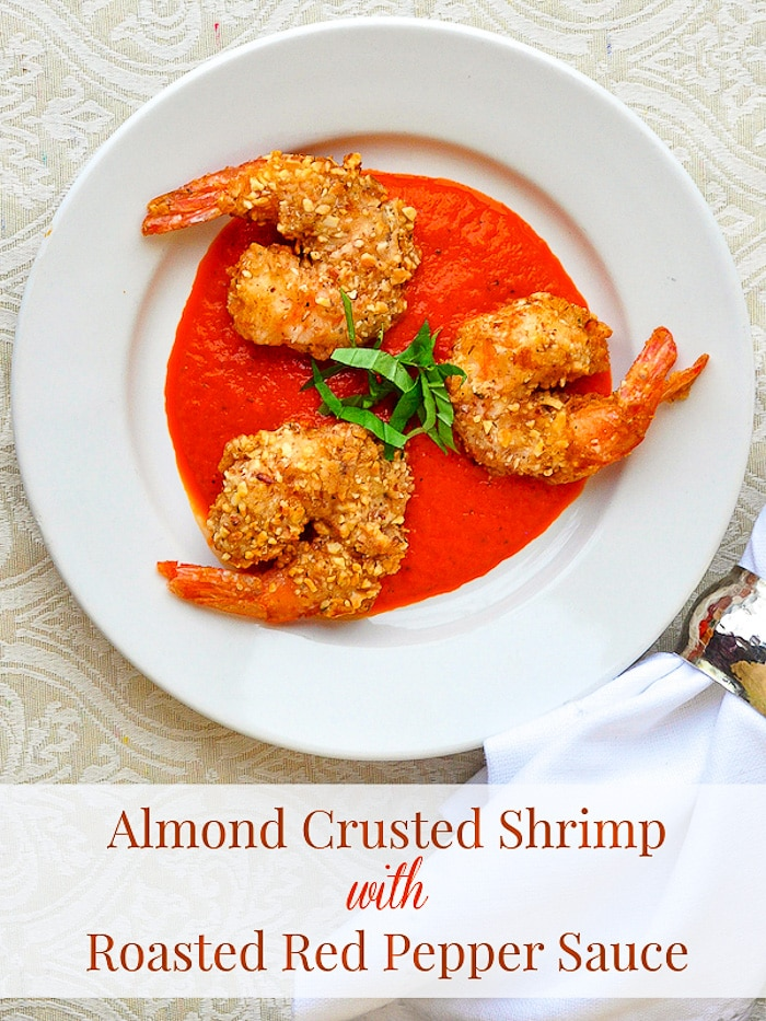 Almond Crusted Shrimp with Roasted Red Pepper Sauce image with title text added for Pinterest.