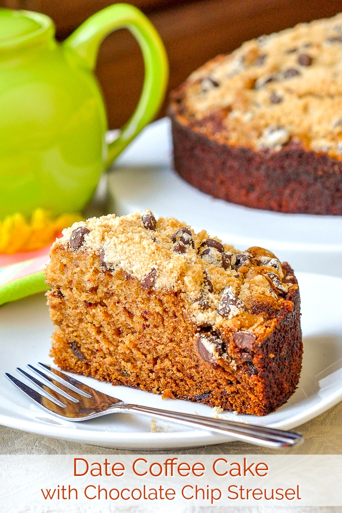 Date Coffee Cake with Chocolate Chip Streusel. A moist, delicious, date coffee cake made even better with the addition of a buttery crumb topping that includes sweet chocolate morsels. #brunch #sundaybrunch