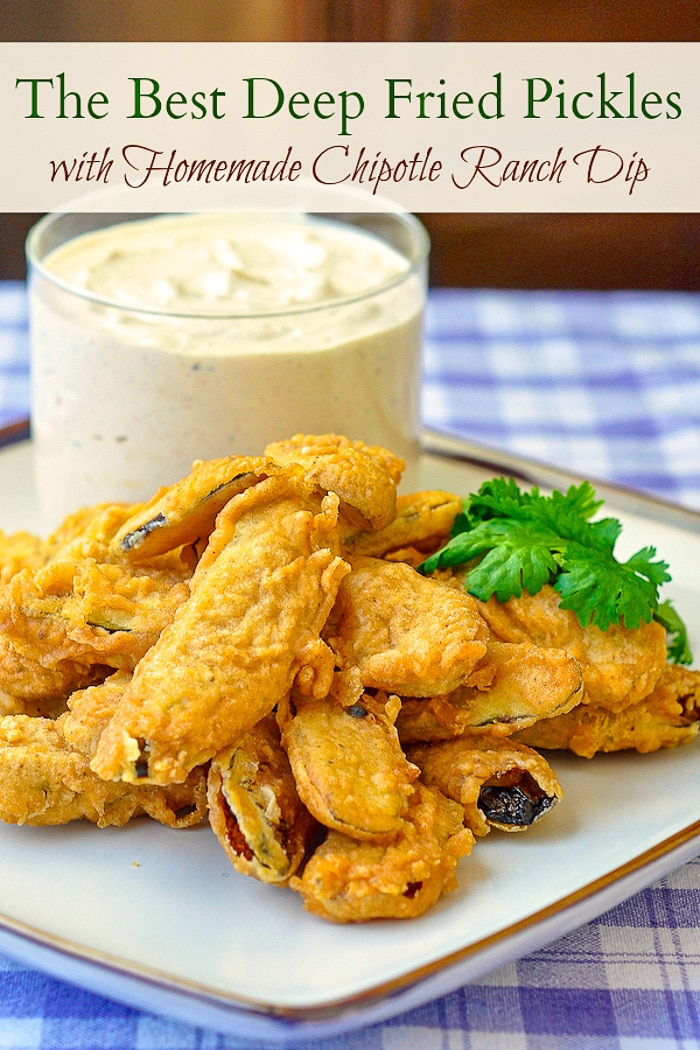 Deep Fried Pickles photo with title text for Pinterest