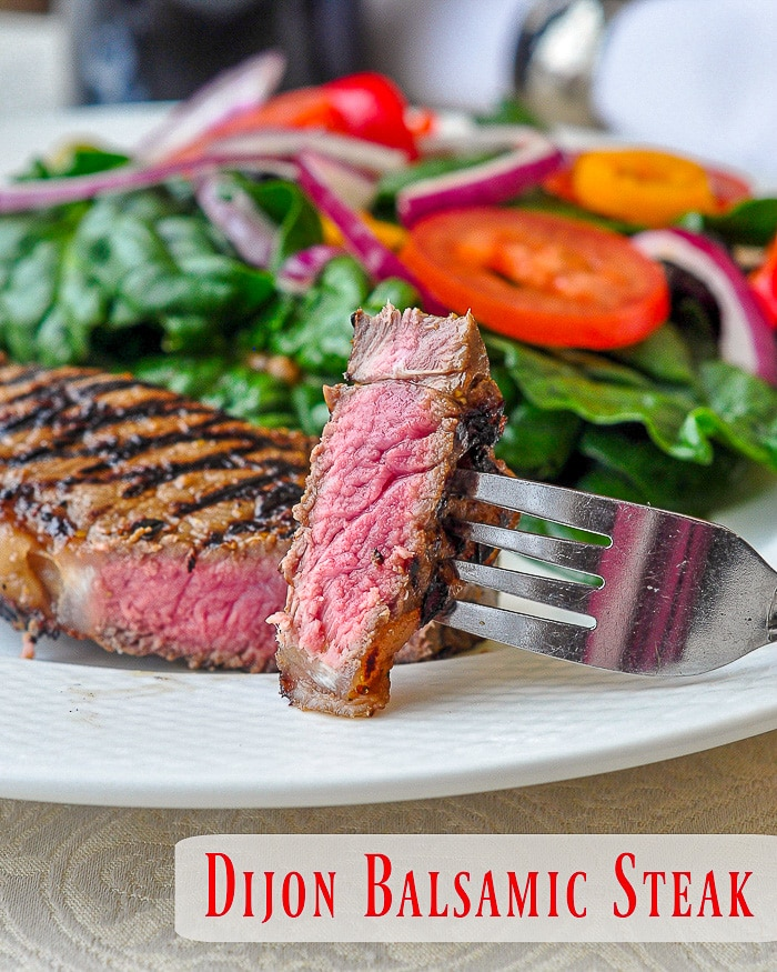 Dijon Balsamic Marinated Steak photo with title text for Pinterest