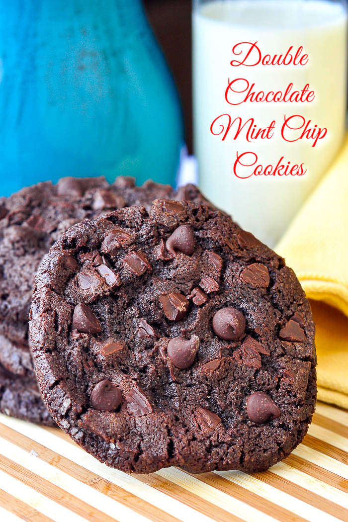 Double Chocolate Mint Chip Cookies photo with title text added for Pinterest