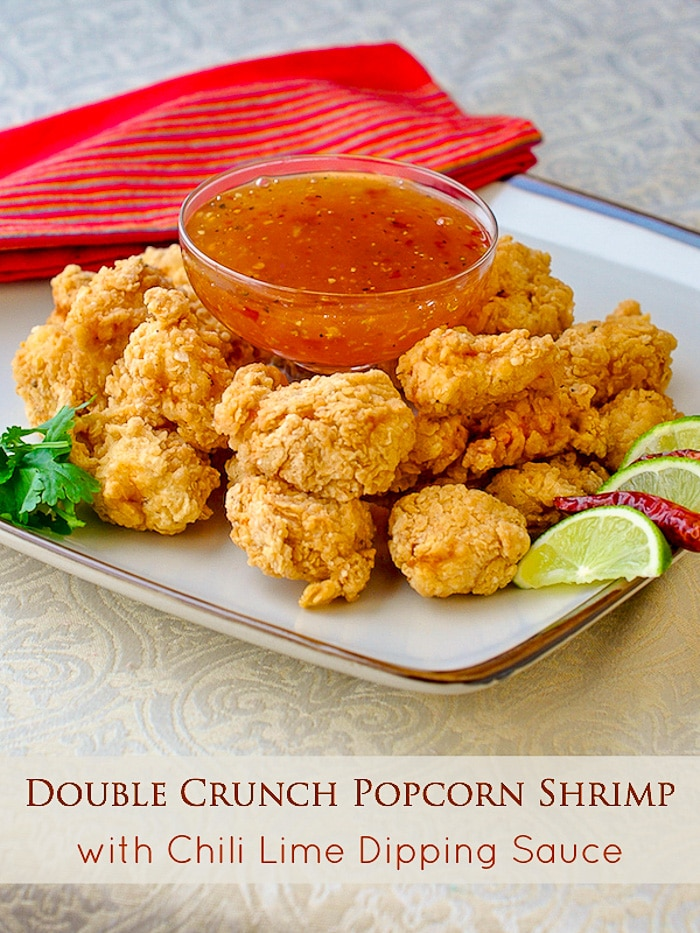 Double Crunch Popcorn Shrimp with Chili Lime Dipping Sauce image with title text for Pinterest