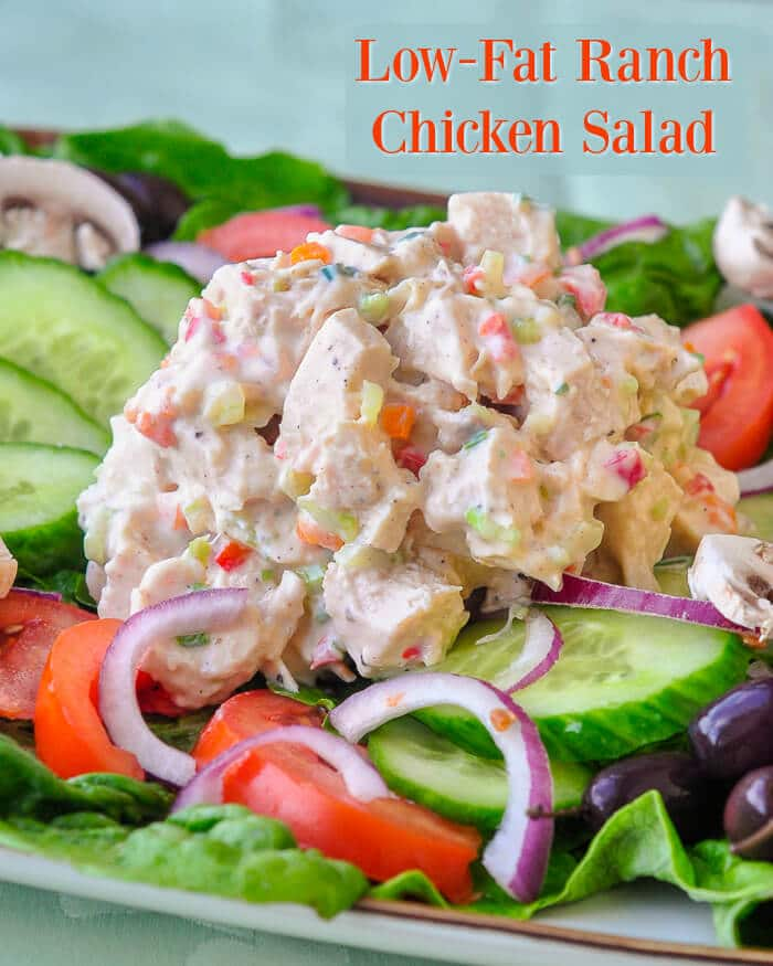 Low Fat Ranch Chicken Salad with text for Pinterest