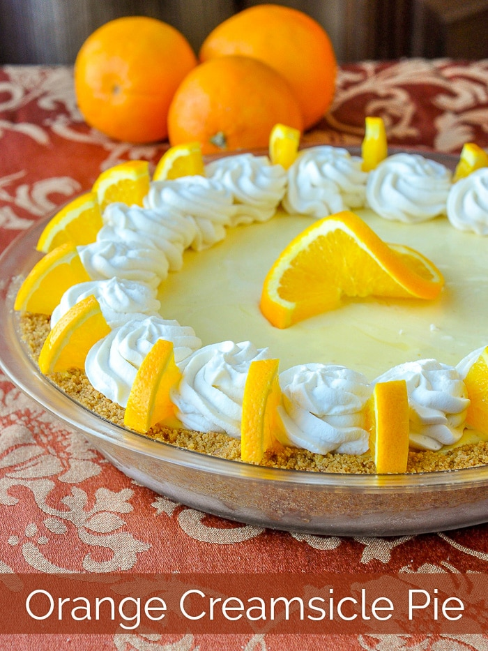Orange Creamsicle Pie photo with title text for Pinterest