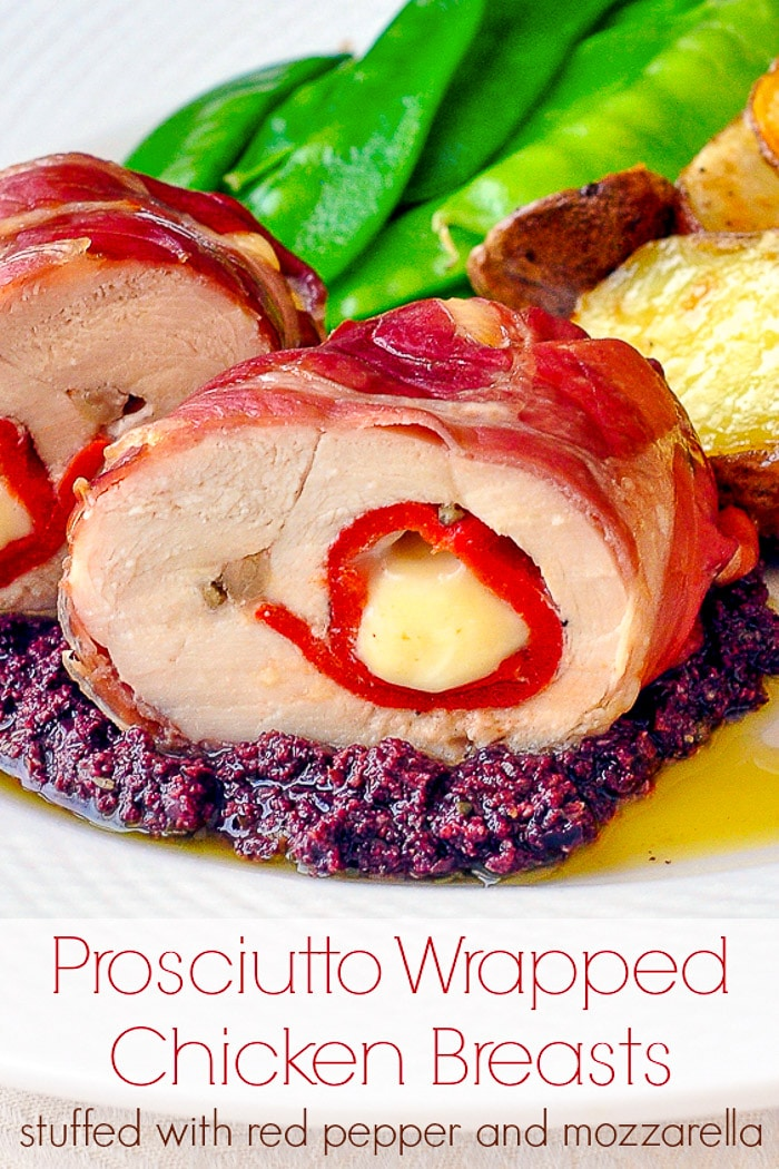Prosciutto Wrapped Chicken Breasts photo with title text for Pinterest