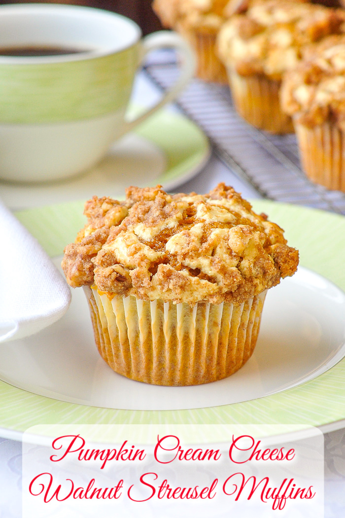Pumpkin Cream Cheese Walnut Streusel Muffins photo with title text added for Pinterest
