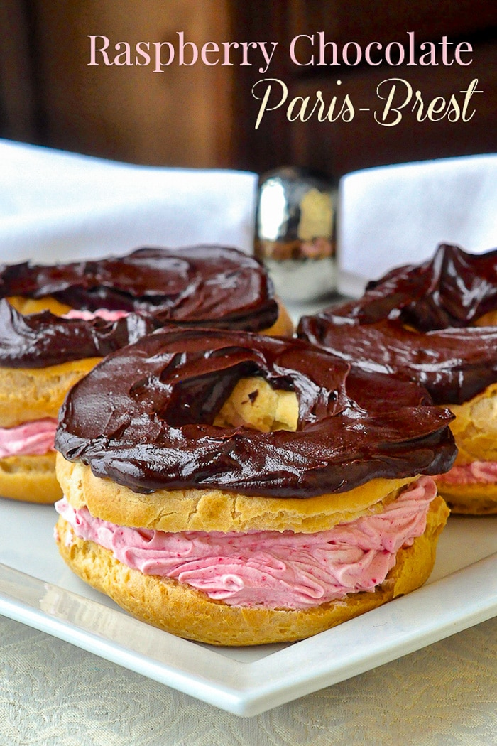 Raspberry Chocolate Paris Brest photo with title text added for Pinterest