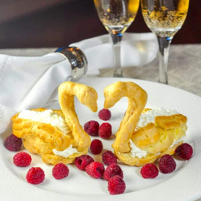 Raspberry and Chantilly Cream Profiterole Swans