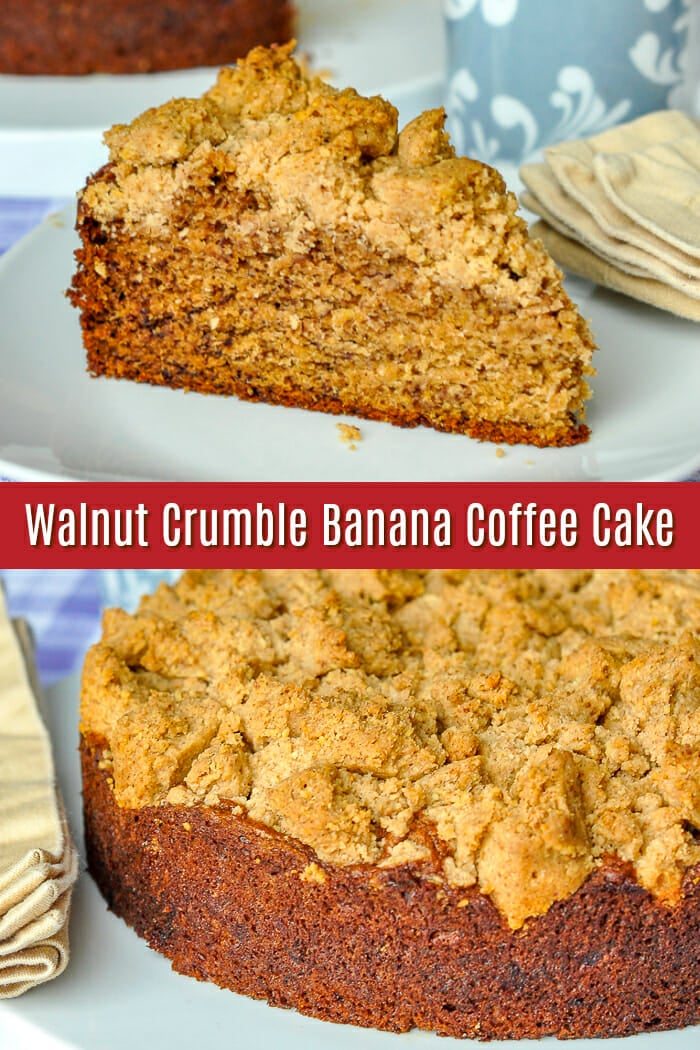 Walnut Crumble Banana Coffee Cake image with title text for Pinterest