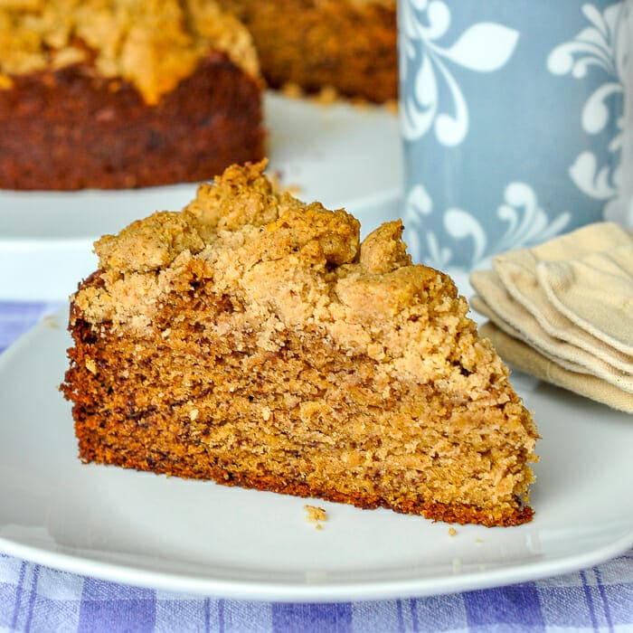 Walnut Crumble Banana Coffee Cake photo of cut slice