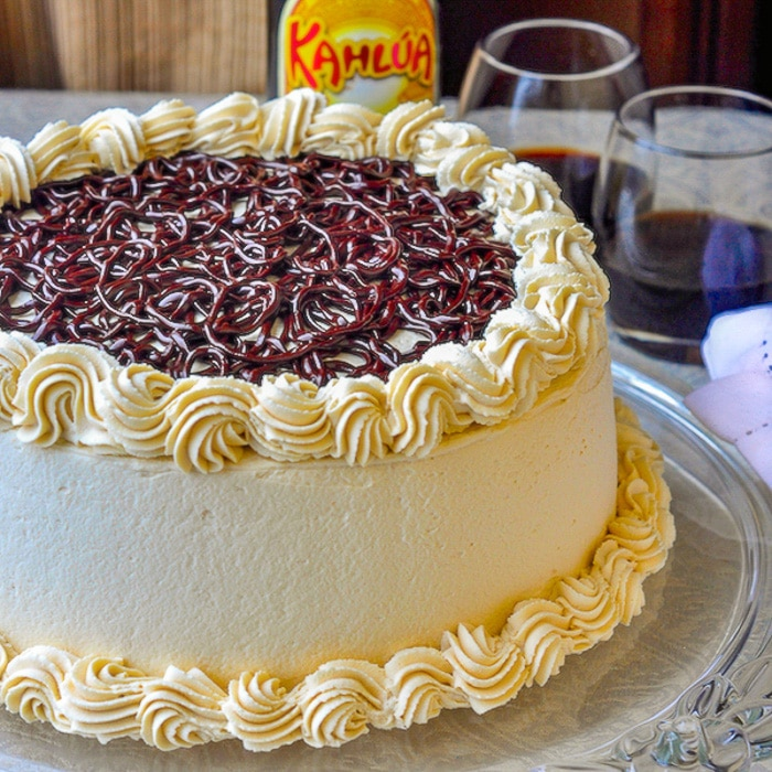 Chocolate Filled Kahlua Tiramisu Cake close up photo of uncut finished cake