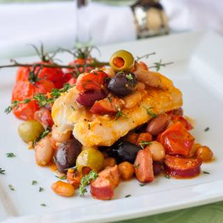 Baked Cod with 5 Beans and Chorizo