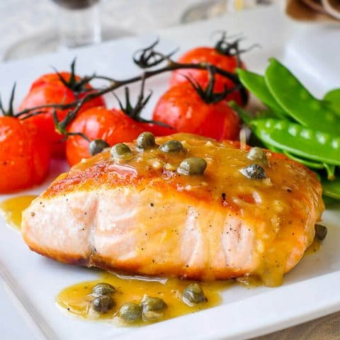 Pan Seared Salmon with Dijon Maple Butter Sauce