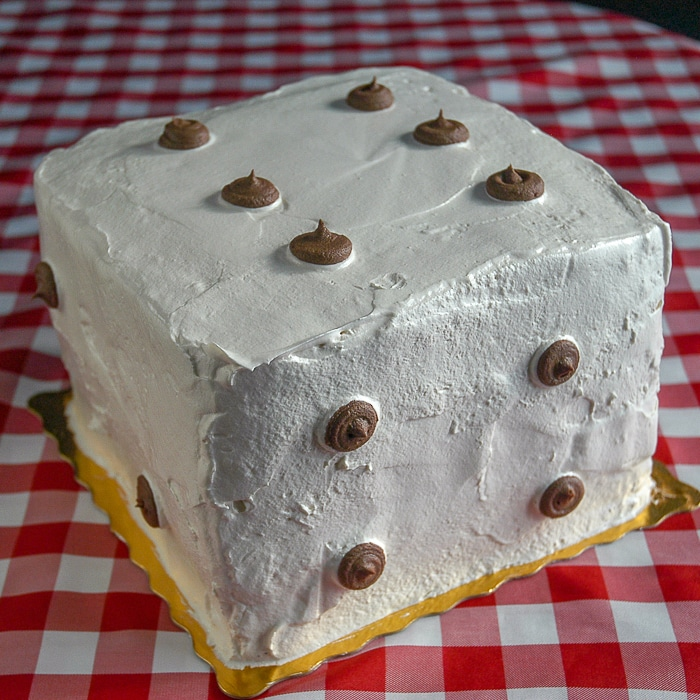 Black and White Cake made as a Dice Cake