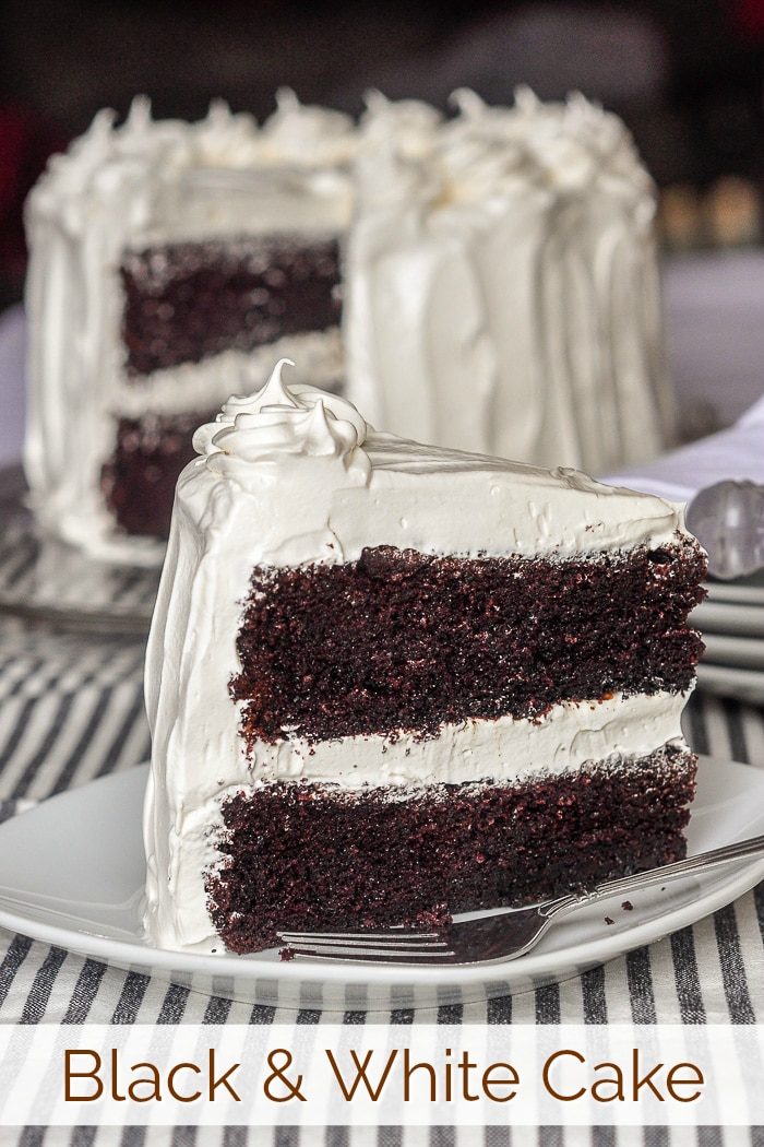Black and White Cake photo with title text for Pinterest
