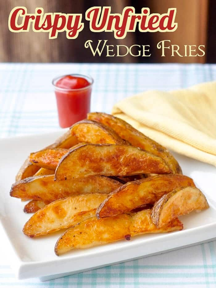Crispy Baked Wedge Fries - learn the secret to getting all the flavour and crispiness of fried potatoes wedges from the oven using this simple straight forward method.