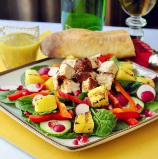 Smoked Chicken, Spinach, Grilled Pineapple and Pomegranate Salad