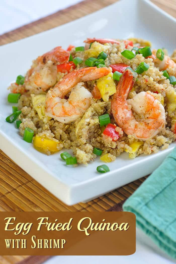 Egg Fried Quinoa with Shrimp. A super nutritious and delicious take on fried rice that substitutes high protein quinoa in a version the whole family will love. Try substituting grilled or sautéed chicken instead of shrimp too. #healthyrecipes #healthyeating