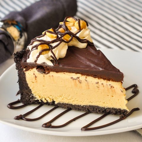 Frozen Peanut Butter Cup Pie photo of a single slice on a white plate