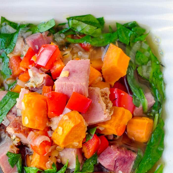 Ham Sweet Potato and Spinach Soup
