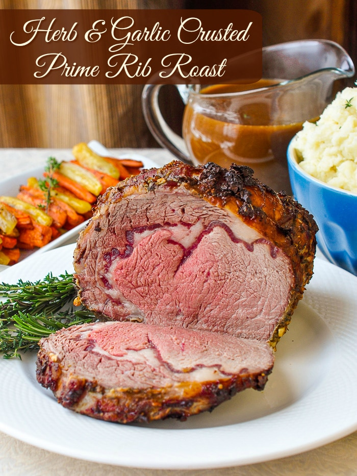 Herb and Garlic Crusted Prime Rib Roast photo with title text for Pinterest