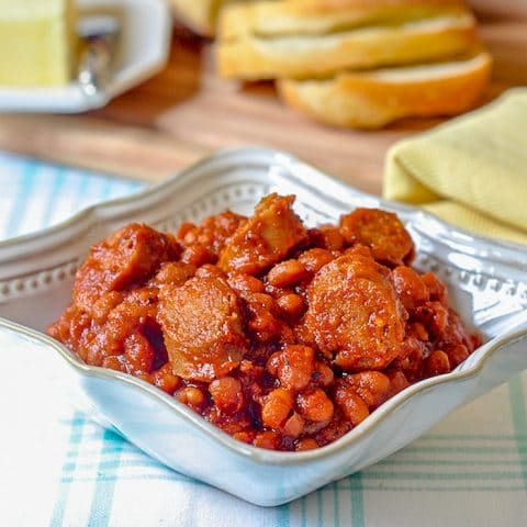 Maple Baked Beans with Apple Sausage close up photo