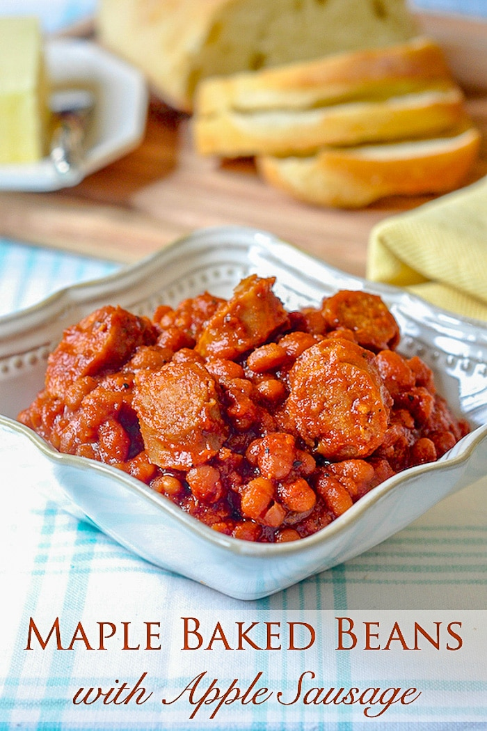 Maple Baked Beans with Apple Sausage photo with title text for Pinterest