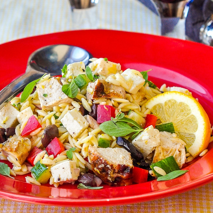 Mediterranean Lemon Chicken Orzo Salad, featured recipe image