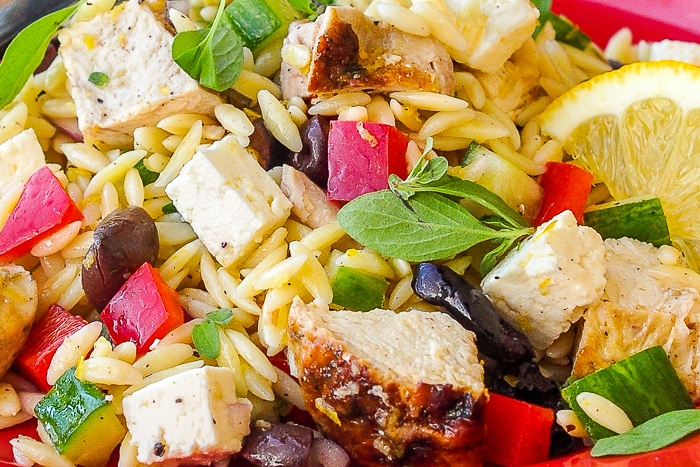 Mediterranean Lemon Chicken Orzo Salad close up photo