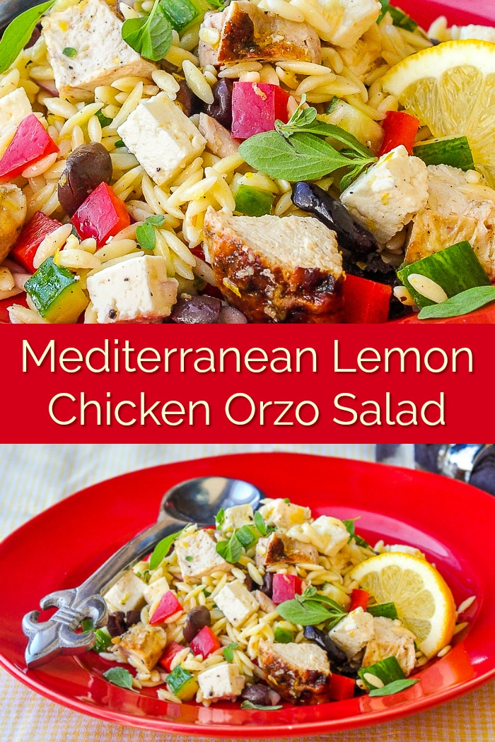 Mediterranean Lemon Chicken Orzo Salad image collage for Pinterest