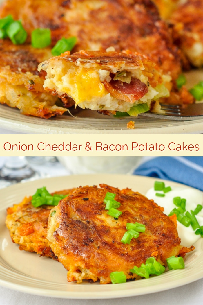 Onion Cheddar and Bacon Potato Cakes image with title text for Pinterest
