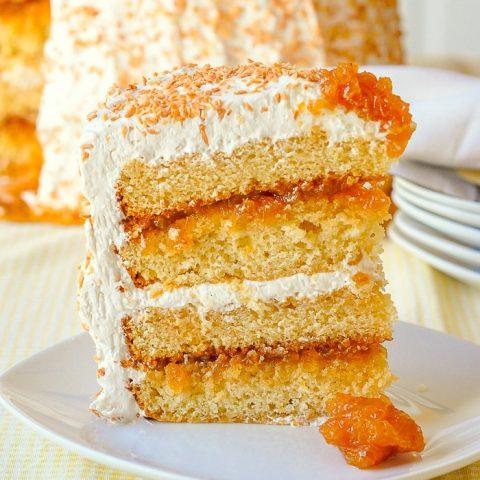 Pina Colada Cake close up photo of a single slice