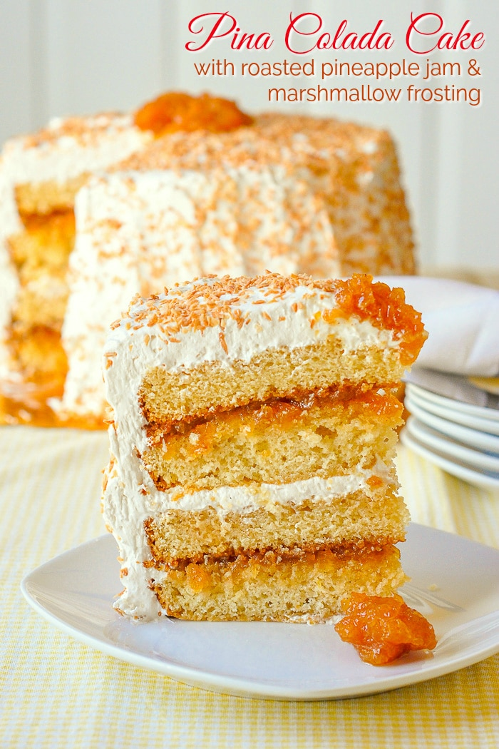 Pina Colada Cake photo of a cake slice with title text added for Pinterest