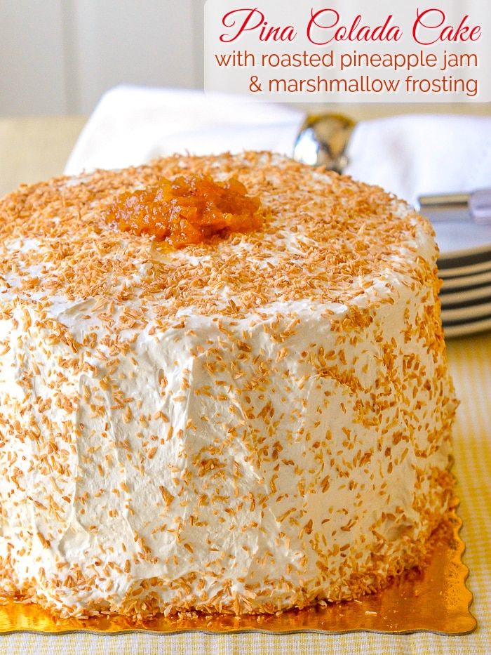 Pina Colada Cake photo of finished uncut cake with title text added for Pinterest