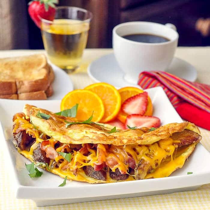 Potato Bacon and Cheddar Omelet - leftover wedge fries can become part of a hearty breakfast.