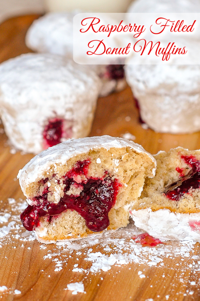 Raspberry Filled Donut Muffins photo of one broken open muffin with title text added for Pinterest