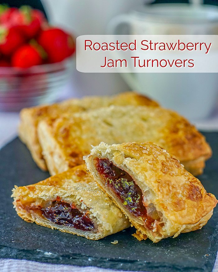 Roasted Strawberry Jam Turnovers photo with title text for Pinterest