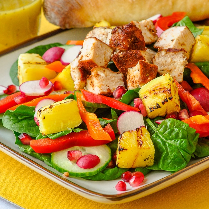 Smoked Chicken Spinach Grilled Pineapple Pomegranate Salad square format featured image