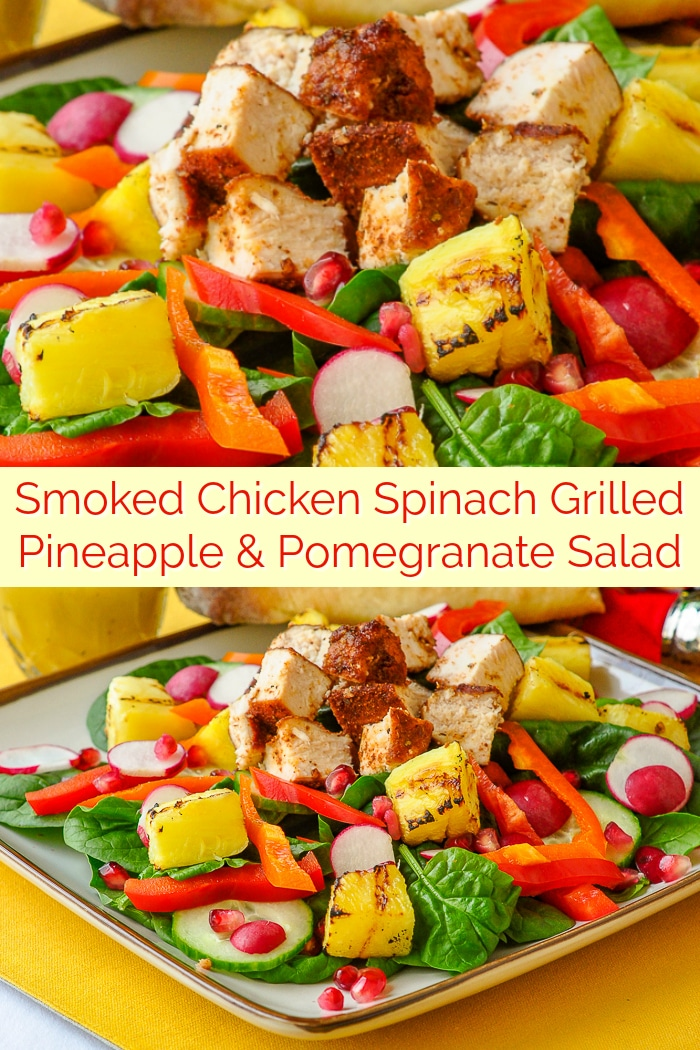 Smoked Chicken Spinach Grilled Pineapple and Pomegranate Salad photo collage with title text for Pinterest