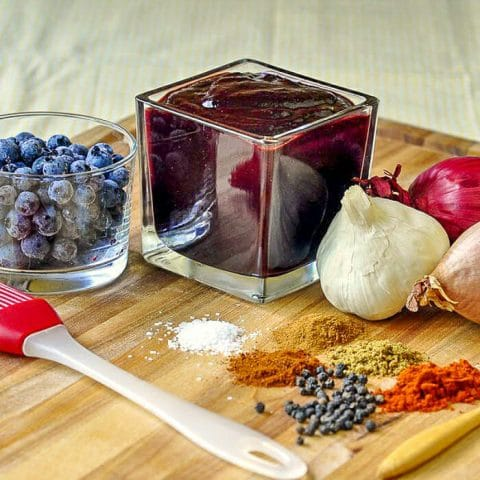 Blueberry Barbecue Sauce shown finished including all of the ingredients in the sauce.