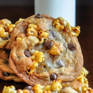 Caramel Corn Chocolate Chip Cookies close up photo of a single cookie