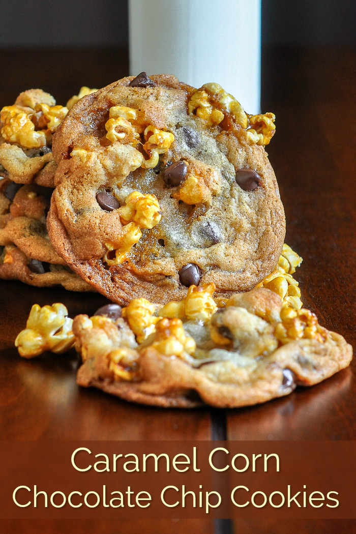 Caramel Corn Chocolate Chip Cookies. The best, highly addictive homemade caramel corn baked into crispy, chewy, perfect chocolate chip cookies. Amazing! #cookies #afterschoolsnacks #christmascookies