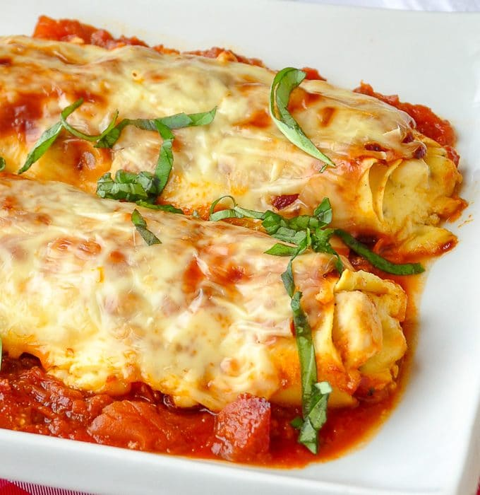 Chicken Cannelloni Margherita close up photo.