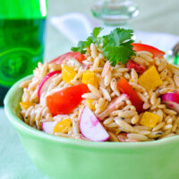 Close up photo of Low Fat Chipotle Ranch Orzo Salad