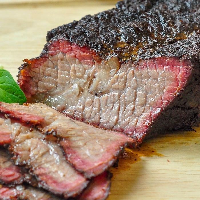 Close up photo of smoked brisket