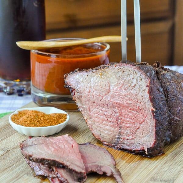 Smokin' Summer Spice Dry Rub on slow BBQ beef round roast.