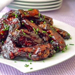 Honey Blueberry Barbecue Sauce on grilled wings