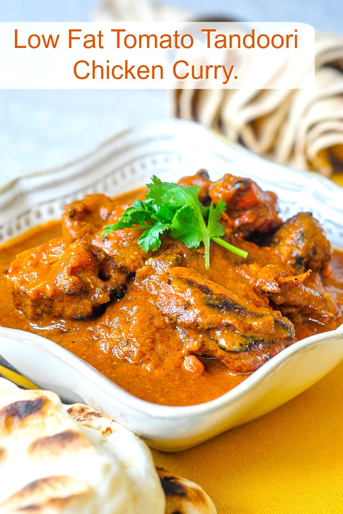Low Fat Tomato Tandoori Chicken Curry photo with title text for Pinterest