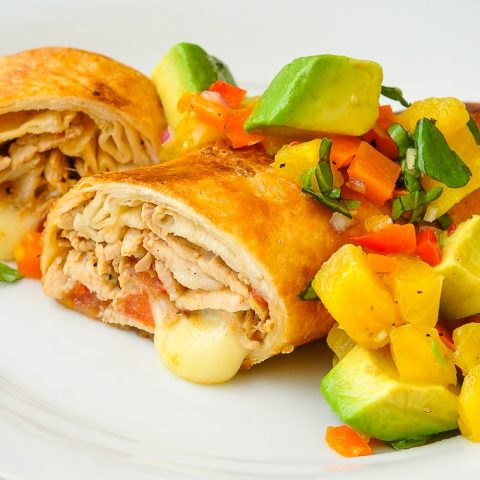 Pork Chimichangas with Avocado Pineapple Salsa close up photo for featured image