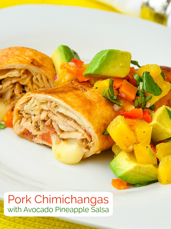 Pork Chimichangas with title text added for Pinterest